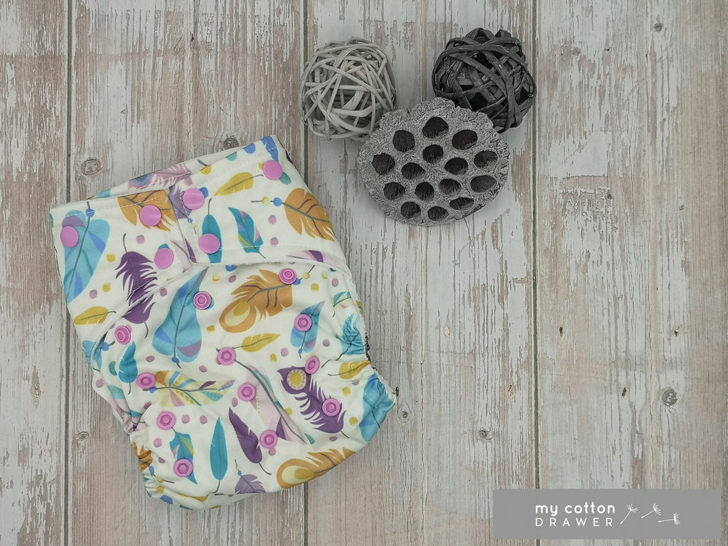 My Cotton Drawer - Bamboo Pocket Cloth Nappy - Feathers in the Wind