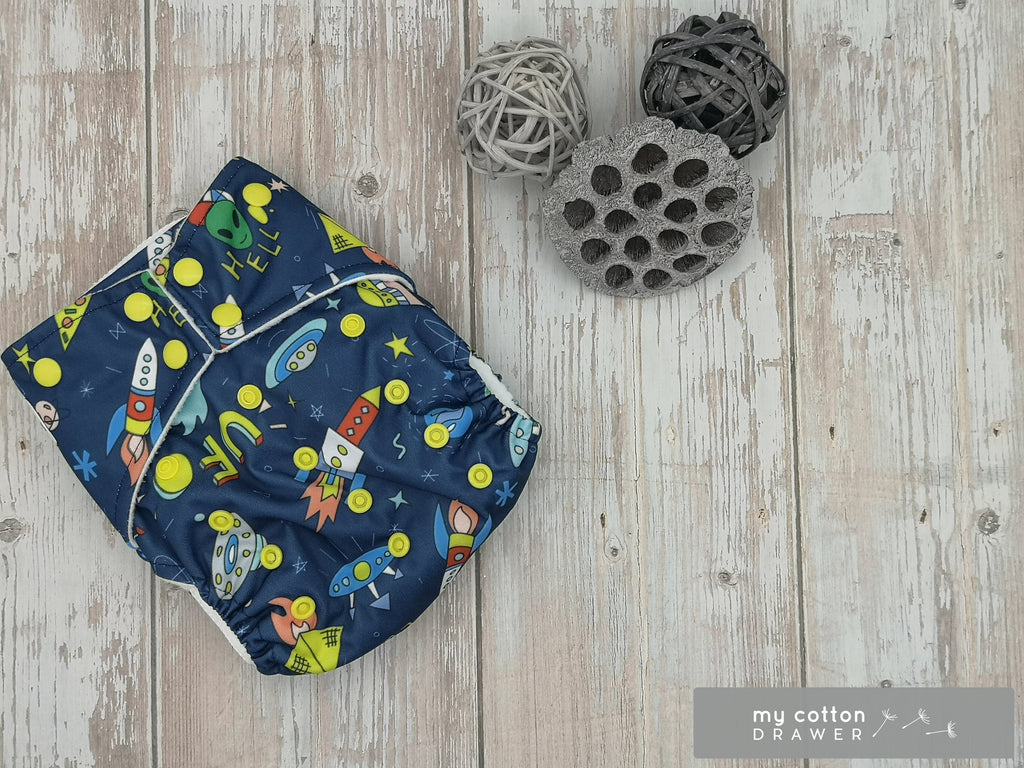 My Cotton Drawer - Bamboo Pocket Cloth Nappy - Flying Saucers