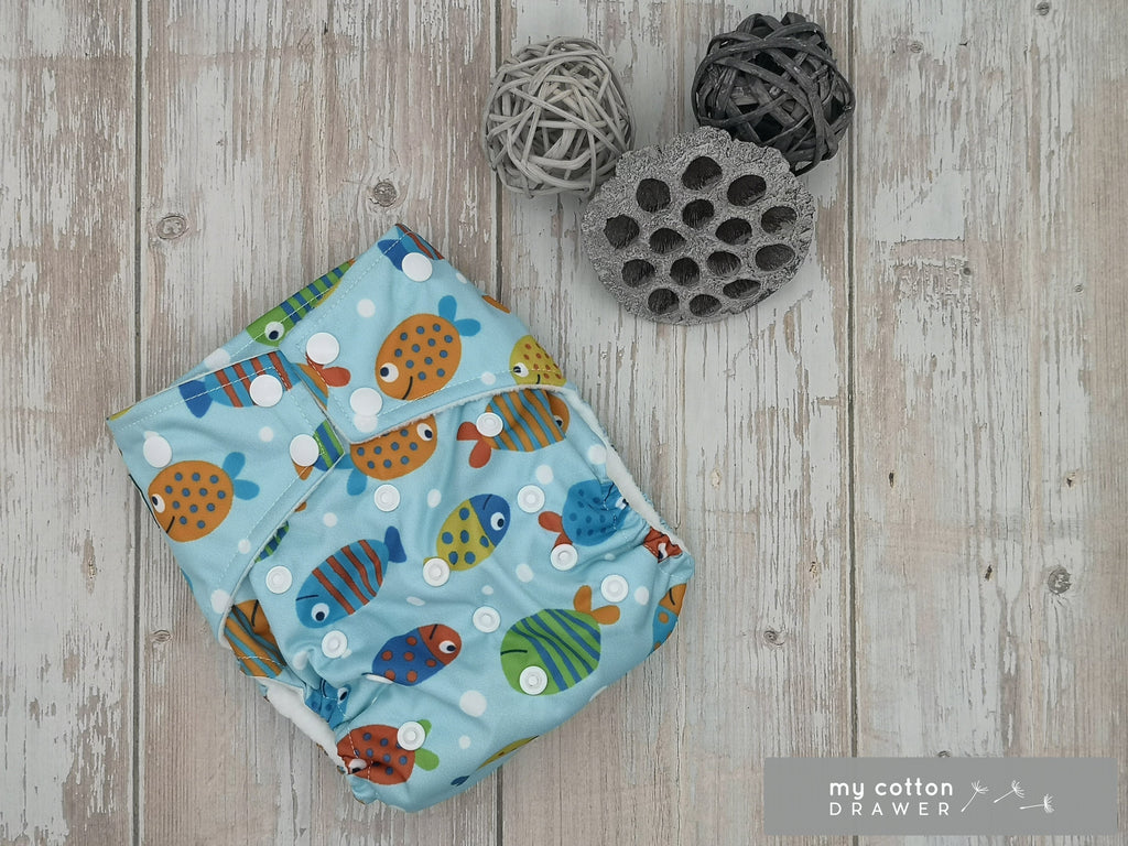 My Cotton Drawer - Bamboo Pocket Cloth Nappy - Little Fish