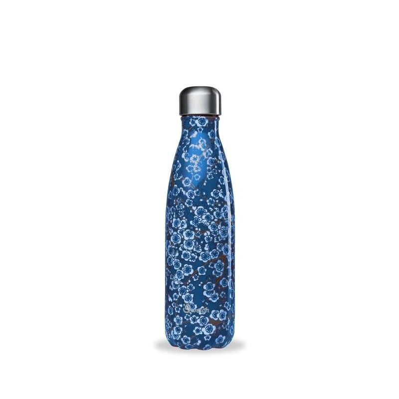 Qwetch 500ml insulated steel bottle - Flowers Blue