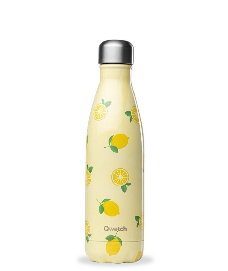 Qwetch 500ml insulated steel bottle - Lemons