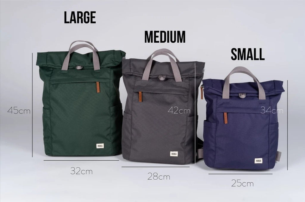 Roka London Sustainable Finchley bag backpack sizes