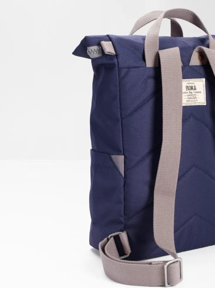 Roka London Sustainable Finchley bag backpack straps