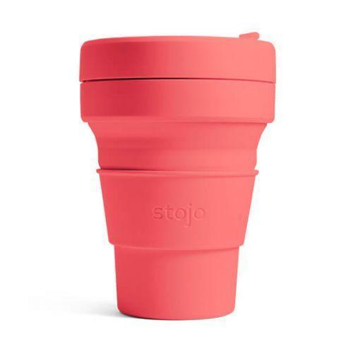 Stojo collapsible coffee cup coral