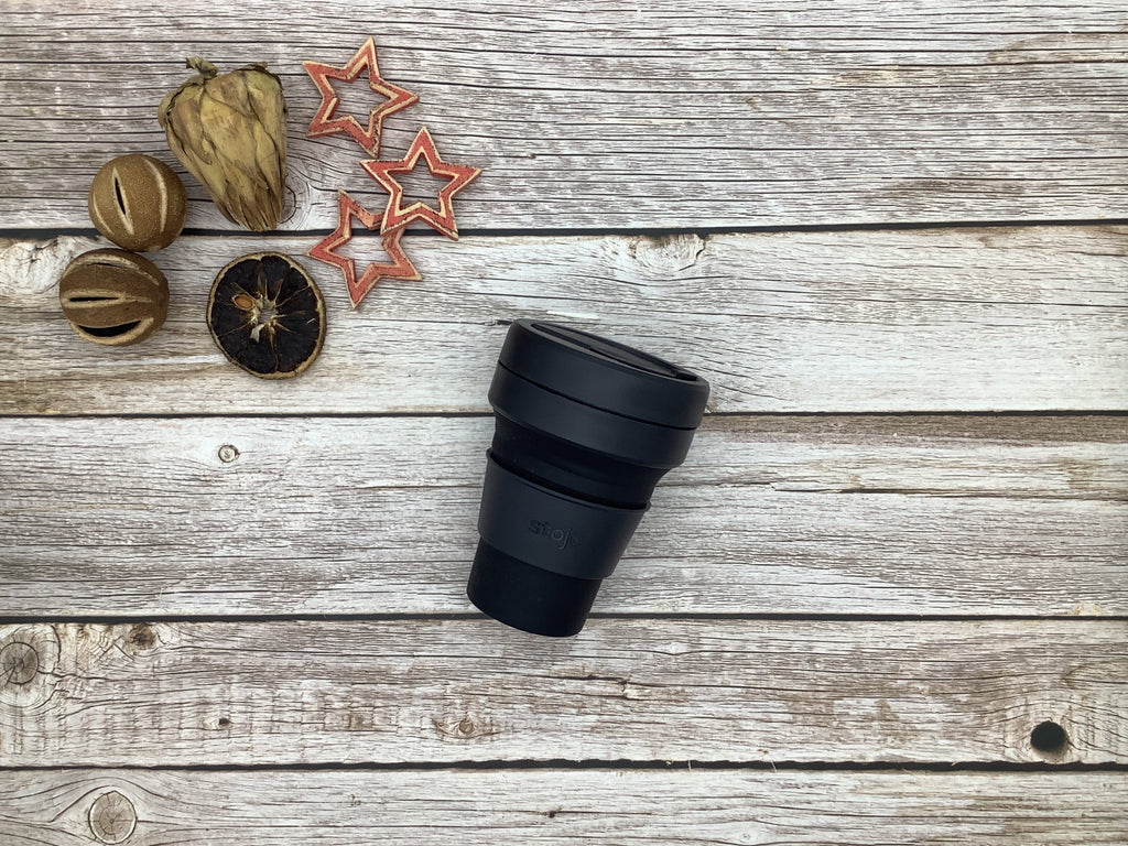 Stojo collapsible coffee cup black ink
