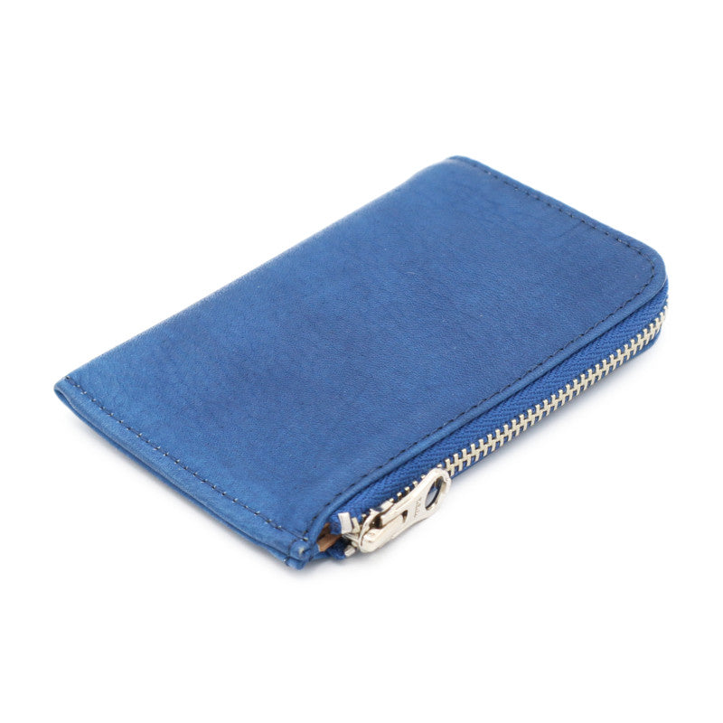 Sukumo indigo leather card case zip (Meddium)
