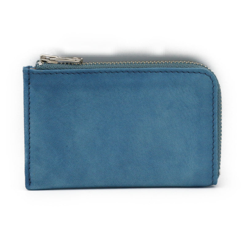 Sukumo indigo leather Card case zip (Light blue)