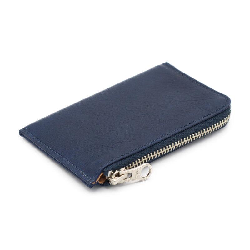 Sukumo indigo leather card case zip (Dark Blue)