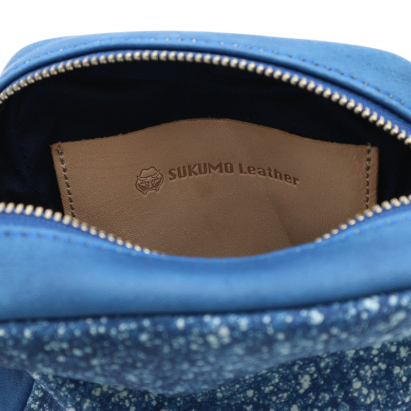 Sukumo Indigo leather Pouch (Fubuki)