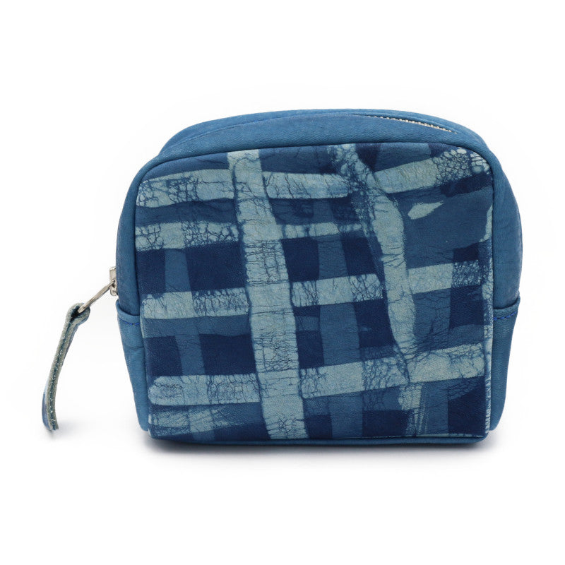 Sukumo Indigo leather Pouch (Shima)