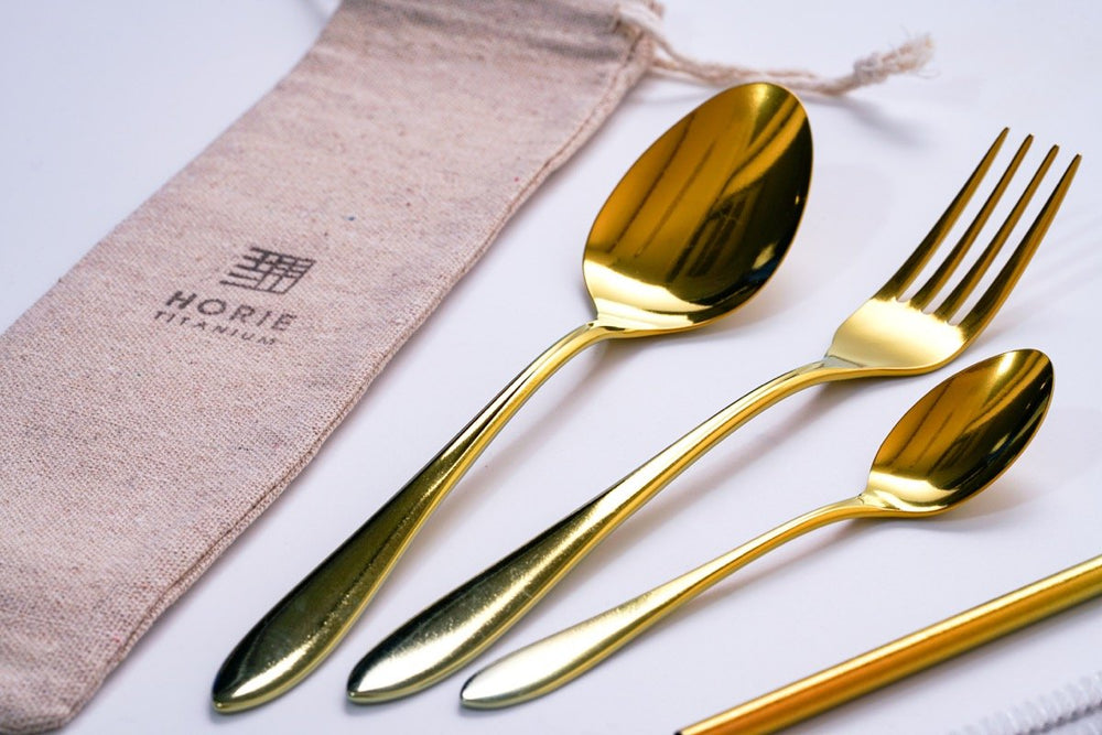 Titanium Cutlery Set (Gold)