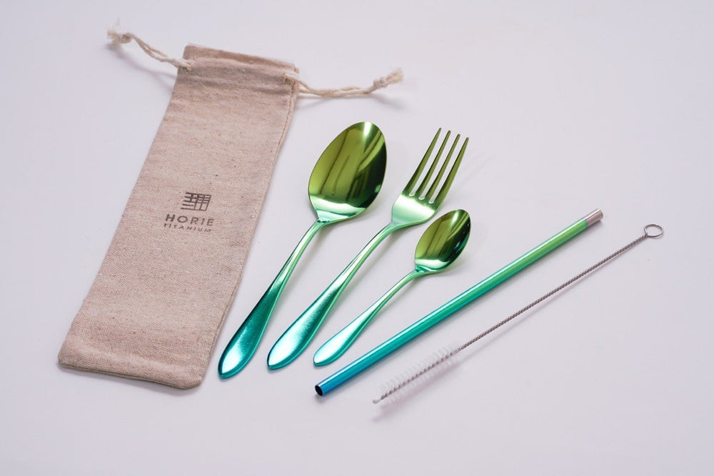Titanium Cutlery Set (Green)
