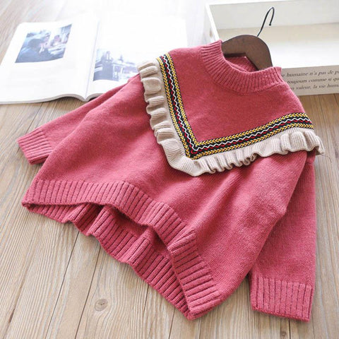 Girls Ruffle Neckline Knitted Sweater