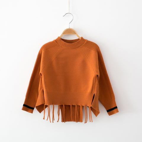 Girls Knitted Tassel Sweater Top Brown