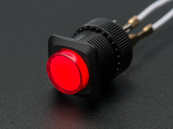 16mm Illuminated Latching On/Off Pushbutton (Red)