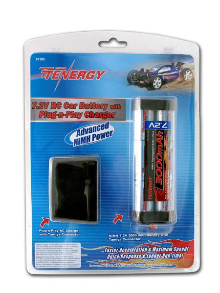 Tenergy 7.2V 3000mAh RC Car NiMH Battery Pack & Plug-n-Play Charger
