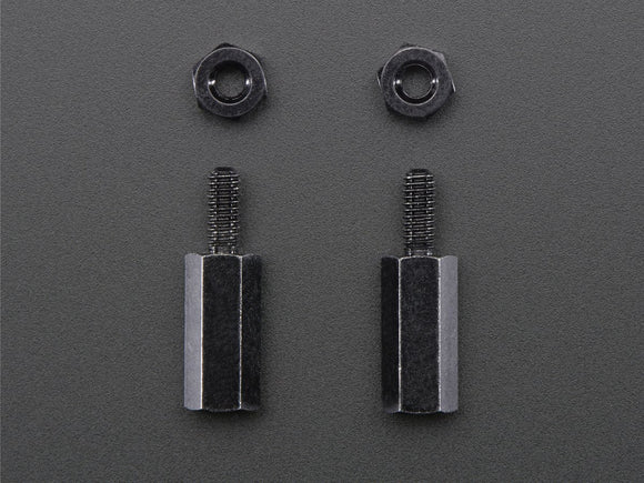 Brass M2.5 Standoff for Pi HATs - Black Plated - Pack of 2