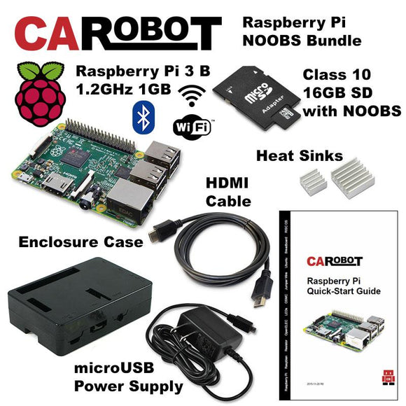 CAROBOT Raspberry Pi 3 B Starter Bundle (with 16GB SD Card)