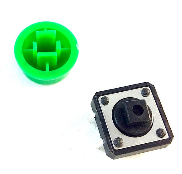 Momentary Push Button/Tactile Switch with Round Cap (Green)