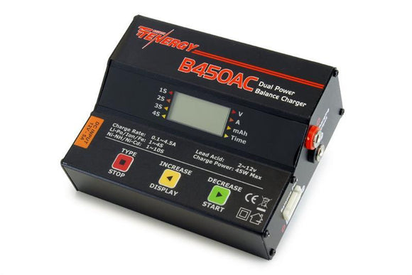 Tenergy B450AC 45W AC/DC Compact Balance Charger for NiMH/NiCd/LiPo/Li-ion/LiFePO4/Lead Acid Battery Packs