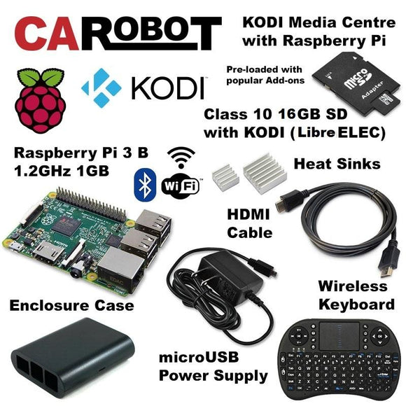 CAROBOT KODI Media Centre with Raspberry Pi 3 B (16GB SD Card + LibreELEC Quick-Start Guide)
