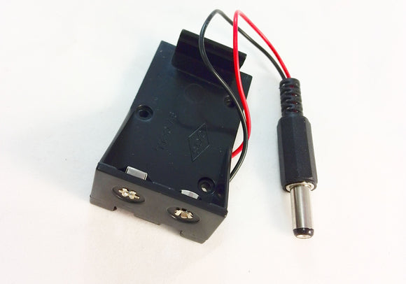 9V Battery Holder with Barrel Jack Connector