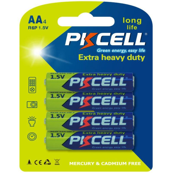 PKCELL Battery AA - 1.5V Extra Heavy Duty (4-pack)