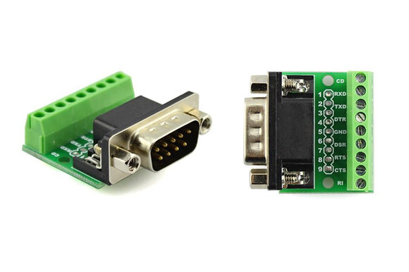 9Pin DB9 Solderless Terminal RS232 RS485 Adapter Connector - Male