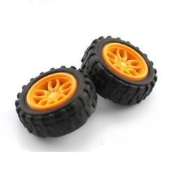 Wheel Pair - 30mm (Rubber Tire, Orange)