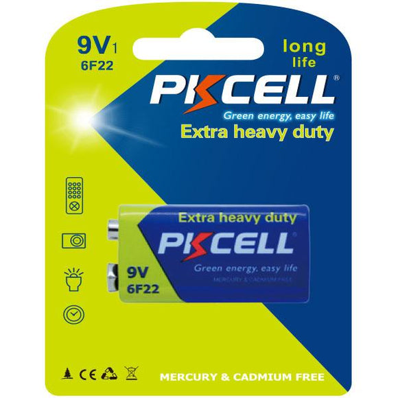 PKCELL Battery 9V - Extra Heavy Duty