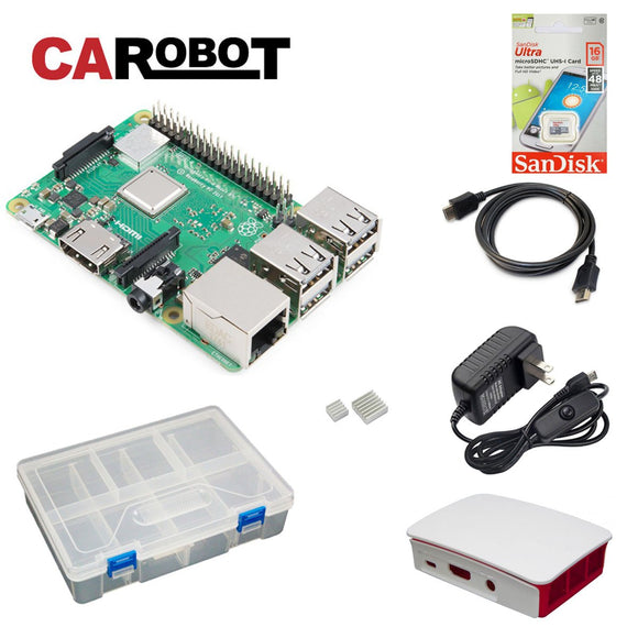 CAROBOT Raspberry Pi 3 B+ Starter Bundle (with 16GB SD Card)