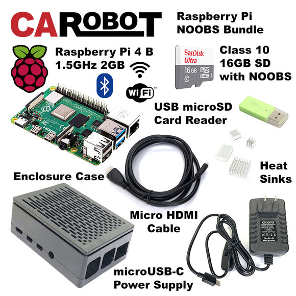 CAROBOT Raspberry Pi 4 B (2GB RAM) Starter Bundle (with 16GB SD Card)