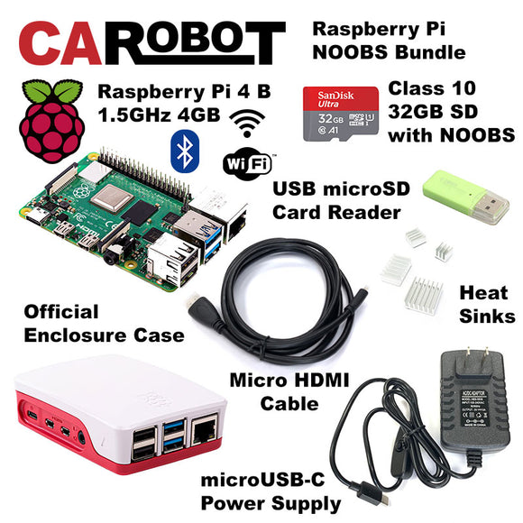 CAROBOT Raspberry Pi 4 B (4GB RAM) Starter Bundle (with 32GB SD Card)