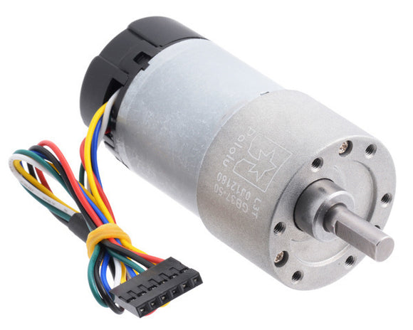 Pololu 50:1 Metal Gearmotor 37Dx70L mm 12V with 64 CPR Encoder (Helical Pinion)