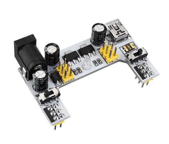 Breadboard Power Supply (DC Barrel or USB mini-B input)