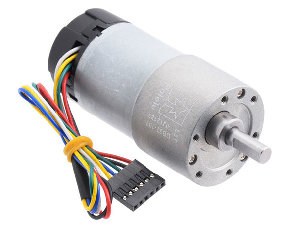 131:1 Metal Gearmotor 37Dx73L mm 12V with 64 CPR Encoder (Helical Pinion)