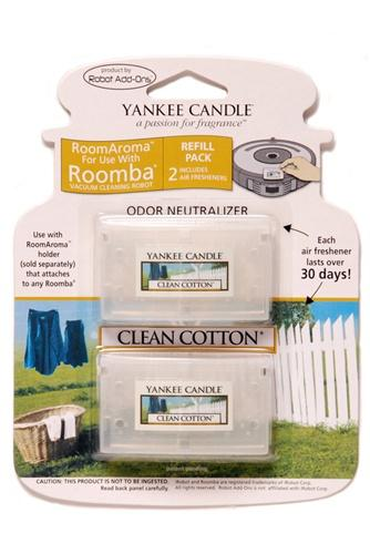 Yankee Candle Air Freshener for Roomba (Clean Cotton RoomAroma Refill Pack)