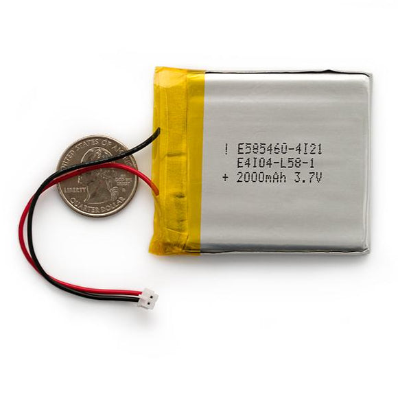 Lithium-Ion Polymer (LiPo) Battery (3.7V 2000mAh)