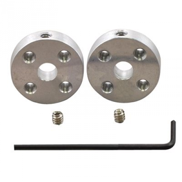 Universal Aluminum Mounting Hub Pair (5mm Shaft 4-40 Holes)