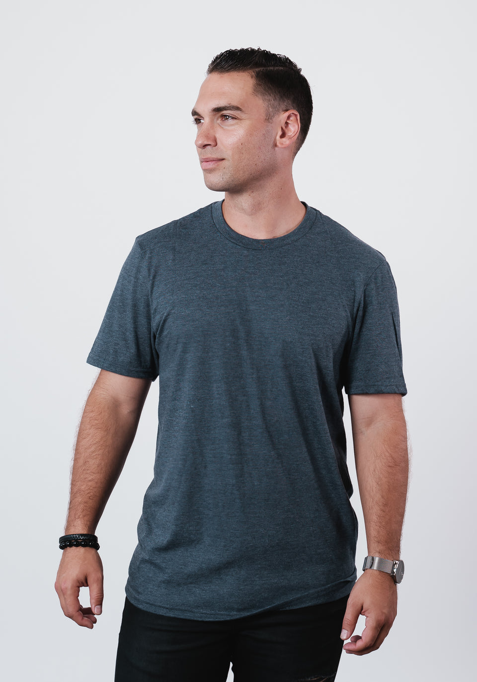 Men's Heathered Navy Soft Crew Neck T Shirt