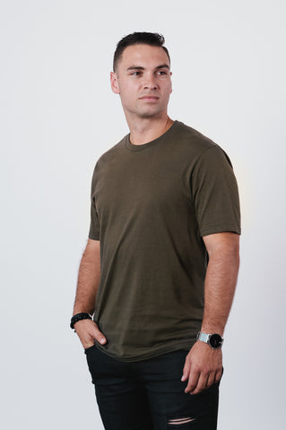 Men's Olive Soft Crew Neck T Shirt