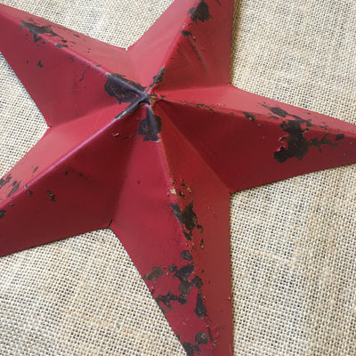 Red Distressed Tin Star