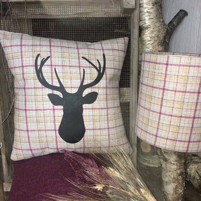 Raspberry Check Tweed Stag Cushion