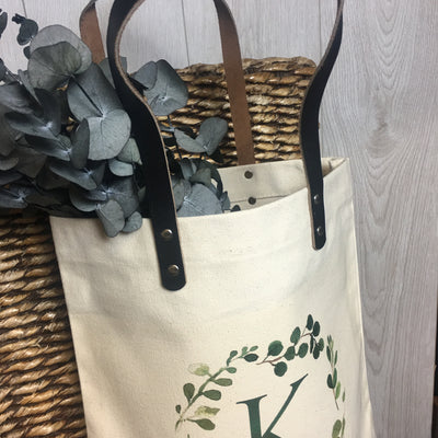 Alphabet Foliage Leather Handle Bag