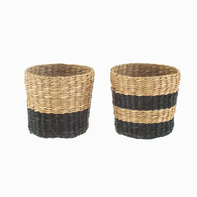 Natural & Black Seagrass Basket/Planter Set