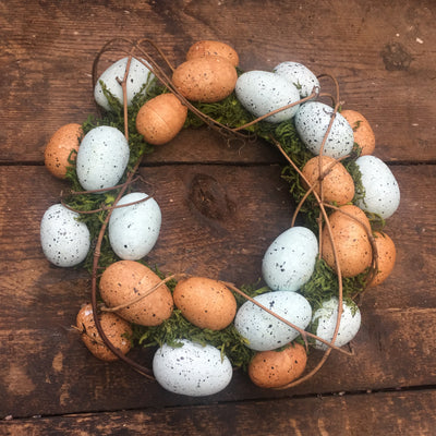 Blue & Natural Egg Moss Wreath