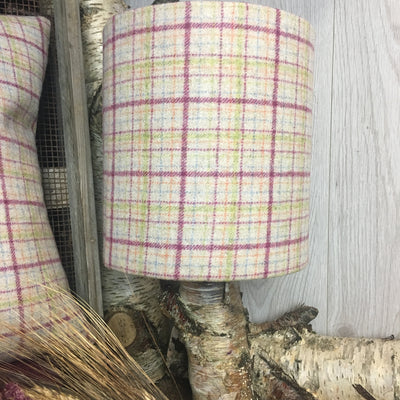Raspberry Check Tweed Lampshade