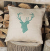 Hunter Green ' Stag's Head ' Hessian Cushion
