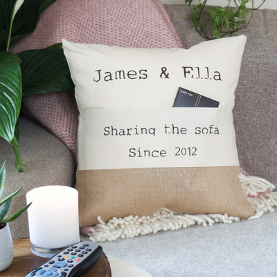 Personalised Couples Names Pocket Cushion