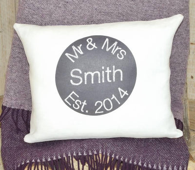 ' Mr And Mrs ' Personalised Ivory Linen Cushion